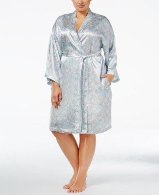 Thalia Sodi Plus Size Printed Satin Wrap Robe, Only at Vogily