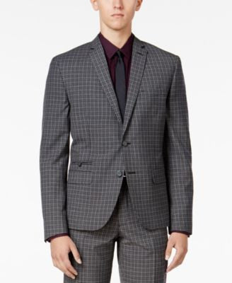 Bar III Men's Charcoal Check Slim-Fit Jacket, Only at Vogily