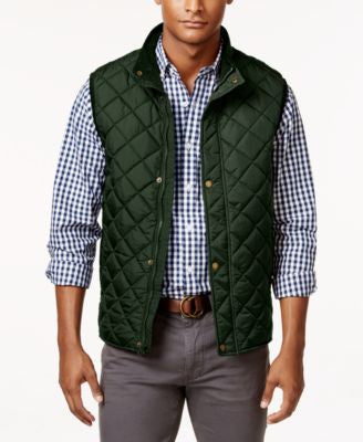 Club Room Men's Zip and Snap Quilted Vest, Only at Vogily