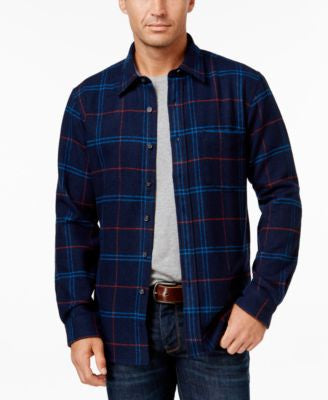 Club Room Men's Long-Sleeve Plaid Shirt, Only at Vogily
