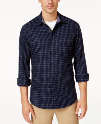 Club Room Men's Long-Sleeve Check Shirt, Only at Vogily