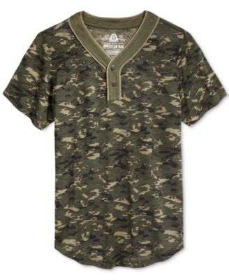 American Rag Men's Camouflage Short-Sleeve Henley, Only at Vogily
