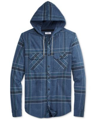Univibe Men's Men's Plaid Long-Sleeve Hoodie Shirt
