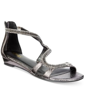Thalia Sodi Clara Snake-Print Detail Wedge Sandals, Only at Vogily