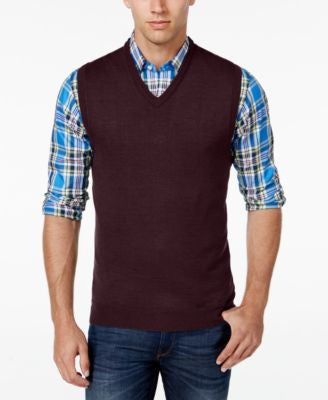 Club Room Men's V-Neck Merino Wool Sweater Vest, Only at Vogily