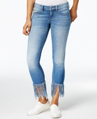 Earl Jeans Frayed-Hem Medium Wash Skinny Jeans