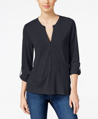Calvin Klein Jeans Split-Neck Roll-Tab Top