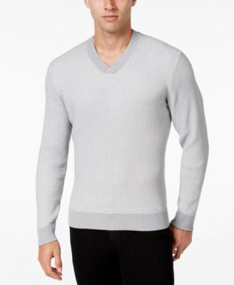 Alfani Men's V-Neck Waffle-Knit Sweater, Regular Fit