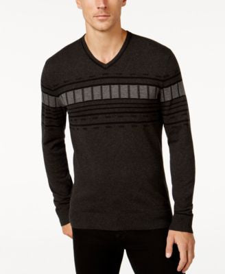 Alfani Men's V-Neck Geometric Striped Sweater, Regular Fit
