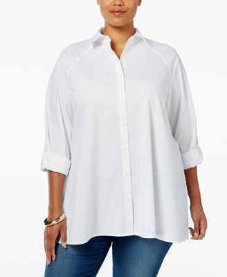 Style & Co. Plus Size Swing High-Low Shirt, Only at Vogily