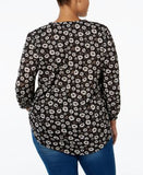 Style & Co. Plus Size Printed High-Low Peasant Top, Only at Vogily
