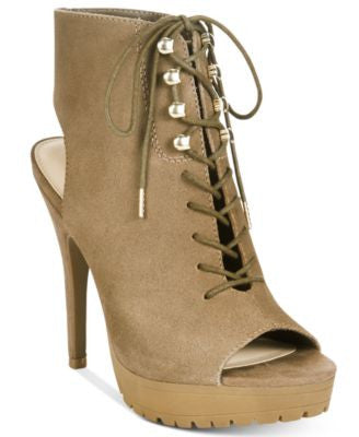 Bar III Emiko Lace-Up Suede Heels, Only at Vogily