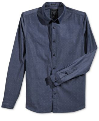 GUESS Men's Long-Sleeve Dobby Shirt