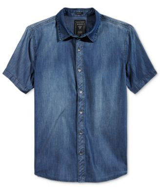 GUESS Men's Short-Sleeve Slim-Fit Chambray Shirt