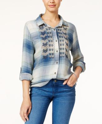American Rag Embroidered Plaid Shirt, Only at Vogily