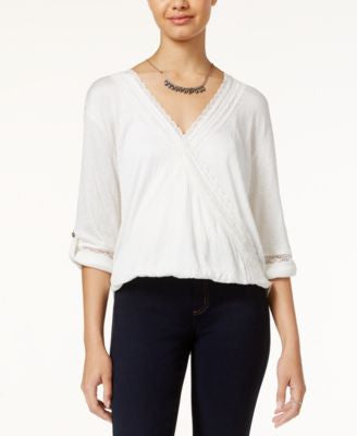 American Rag Lace-Trim High-Low Surplice Top, Only at Vogily