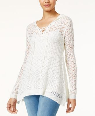 American Rag Crochet Lace-Up Hoodie, Only at Vogily