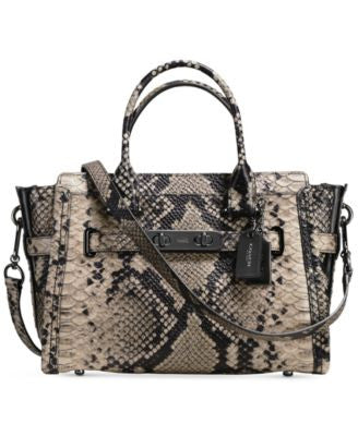 COACH Swagger 27 Carryall in Snake- Embossed Leather