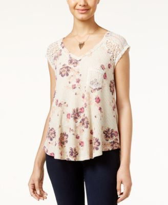 American Rag Printed Waffle-Knit Lace-Trim Top, Only at Vogily