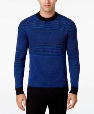Alfani Men's Contrast Multi-Stitch Knit Sweater, Regular Fit