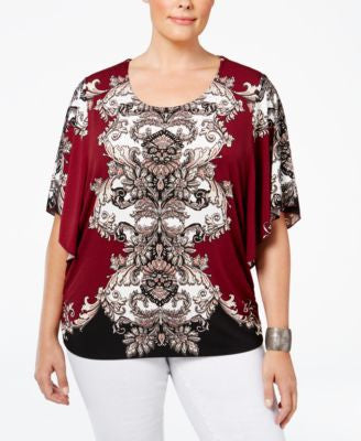 JM Collection Plus Size Printed Butterfly-Sleeve Top, Only at Vogily