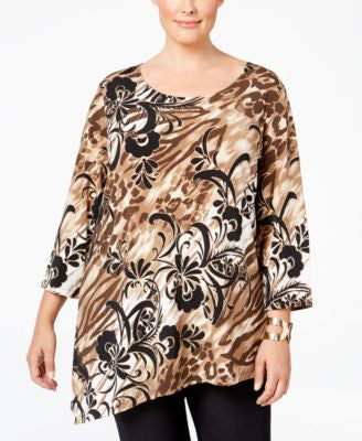 JM Collection Plus Size Printed Asymmetrical-Hem Top, Only at Vogily