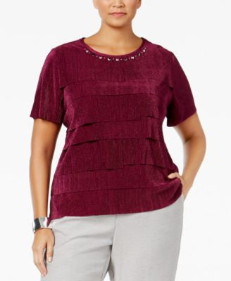 Alfred Dunner Plus Size Veneto Valley Collection Embellished Tiered Top