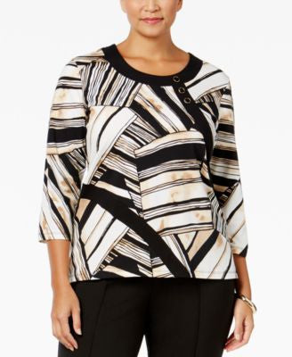 Alfred Dunner Plus Size Madison Park Collection Button-Detail Printed Top