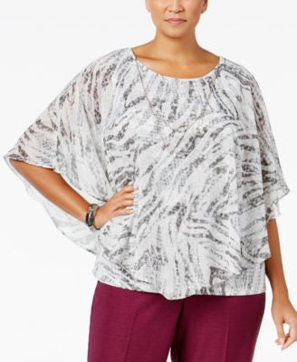 Alfred Dunner Plus Size Veneto Valley Collection Printed Poncho Necklace Top