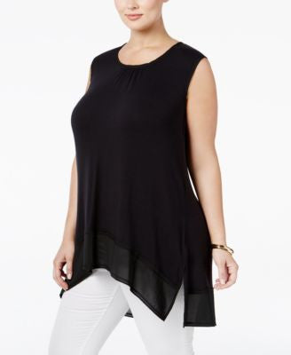 Melissa McCarthy Seven7 Trendy Plus Size Chiffon-Trim High-Low Top