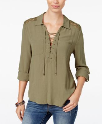 American Rag Lace-Up Roll-Tab Blouse, Only at Vogily