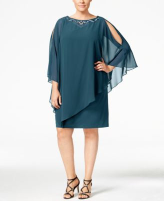 SL Fashions Plus Size Embellished Capelet Dress