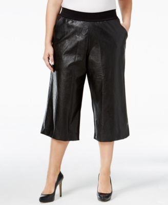 Melissa McCarthy Seven7 Plus Size Faux-Leather-Front Gaucho Pants
