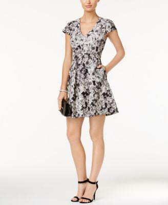 Vince Camuto Printed Jacquard Fit & Flare Dress