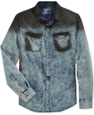 Calvin Klein Jeans Men's Oil Slick Denim Long-Sleeve Shirt