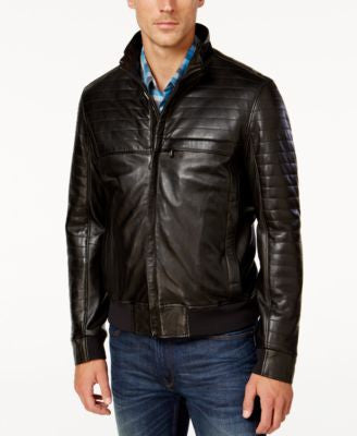 Hugo Boss Green Men's Jalon Quilted Leather Jacket