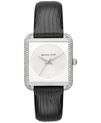 Michael Kors Women's Lake Black Leather Strap Watch 32x39mm MK2583