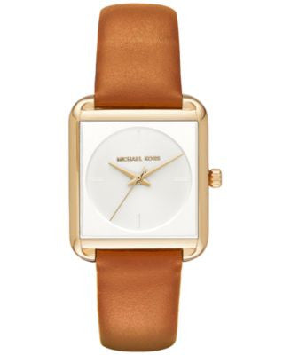 Michael Kors Women's Lake Luggage Leather Strap Watch 32x39mm MK2584