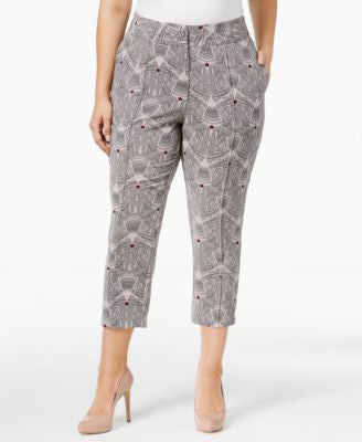 Melissa McCarthy Seven7 Plus Size Geo-Print Cropped Tailored Pants