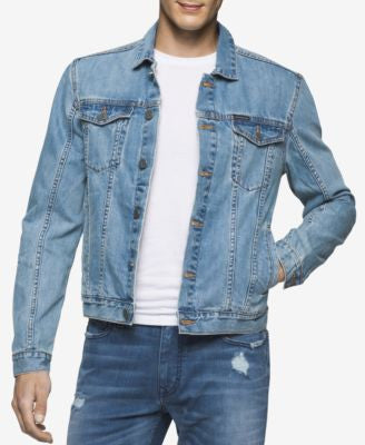 Calvin Klein Jeans Men's Light Wash Denim Trucker Jacket