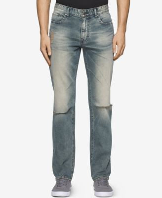 Calvin Klein Men's Sim-Fit Straight Fatigued Jeans