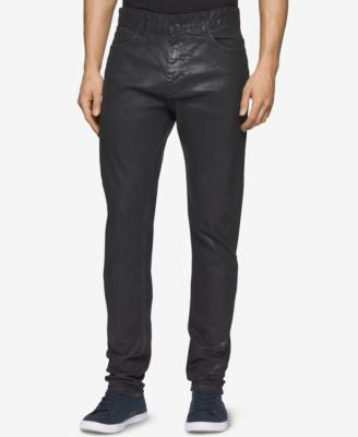 Calvin Klein Men's Slim-Fit Coated Black Jeans