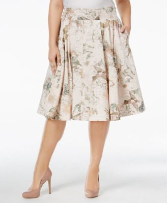 Melissa McCarthy Seven7 Plus Size Printed A-Line Skirt