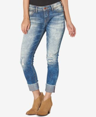 Silver Jeans Ripped Medium Blue Wash Girlfriend Jeans