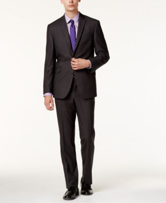 Kenneth Cole Reaction Men's Slim-Fit Gray Plaid Suit