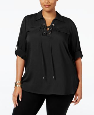 Calvin Klein Plus Size Lace-Up Utility Shirt