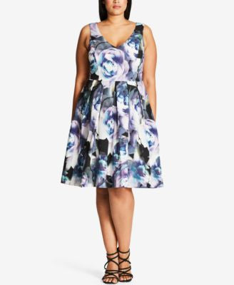 City Chic Plus Size Luminous Floral-Print Fit & Flare Dress