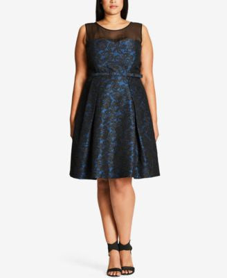 City Chic Plus Size After Dark Illusion Lace Fit & Flare Dress