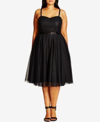 City Chic Plus Size Elsa Sequined Tulle Fit & Flare Dress