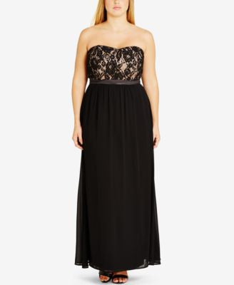 City Chic Plus Size Strapless Empire-Waist Gown Dress